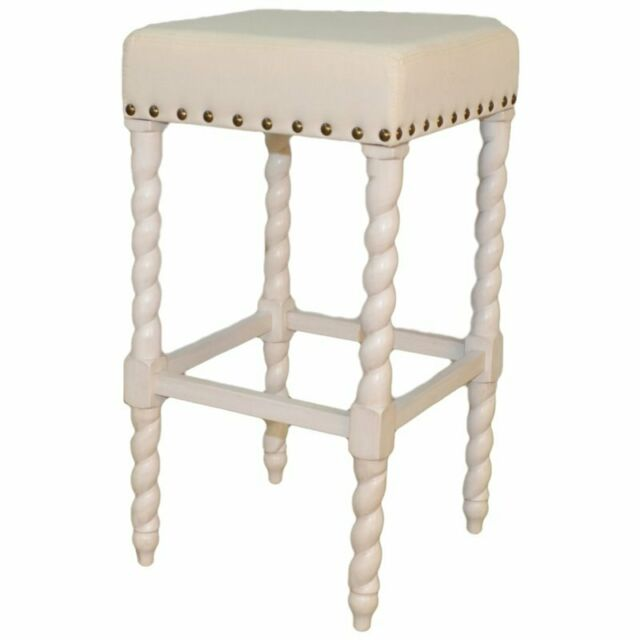Surprising Remick 30 Inch Bar Stool Vintage White Linen Andrewgaddart Wooden Chair Designs For Living Room Andrewgaddartcom