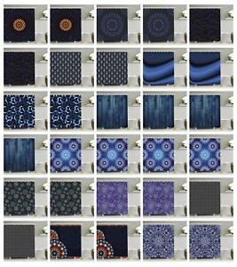 Image Is Loading Dark Blue Pattern Shower Curtain Fabric Decor Set
