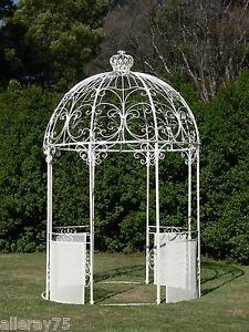 Ivory french style wrought iron arch portico garden gazebo for French style gazebo