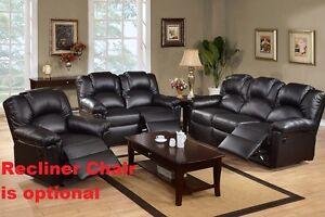 Bonded Leather Black 2 Pc Motion Sofa & Motion Loveseat Living Room Furniture