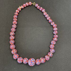 Vintage Millefiori Beads Necklace Red Blue Matte Finish Venetian Glass Art Deco