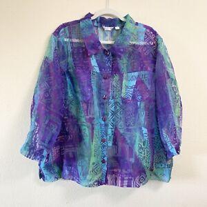 Erin-Women-Size-3X-Burnout-Sheer-Linen-Blend-Shirt-Purple-Green-Button-Down-Top
