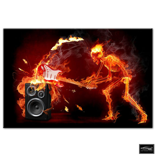Musical Skeleton Fire guitar BOX FRAMED CANVAS ART Picture HDR 280gsm