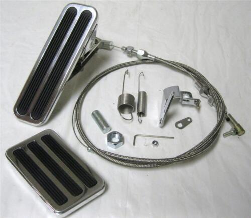 "Street Rod Floor Mount Gas /& Brake Pedal Kit 36/"" SS Throttle Cable /& Spring Set"