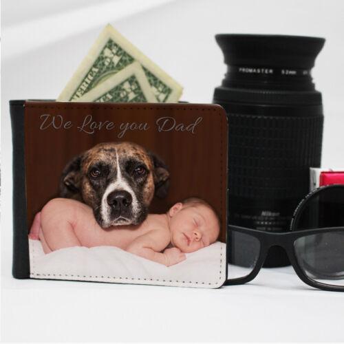 Portafoglio uomo Personalizzato Custom Printed qualità PU pelle foto testo stampato ❤