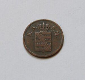 """Saxony: 1 Pfennig 1861 B """" Johann """""""