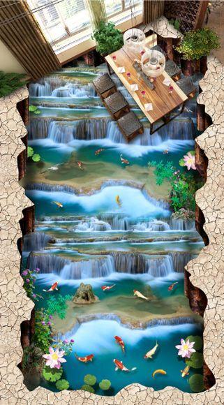 3D water fish stone 124 Floor WallPaper Murals Wall Print Decal 5D AJ WALLPAPER