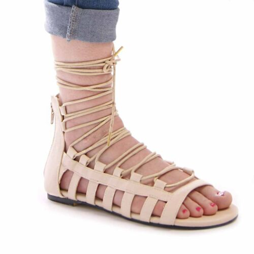 LADIES WOMENS SUMMER SANDALS GLADIATOR LACE UP HOLIDAY BEACH CASUAL SHOES