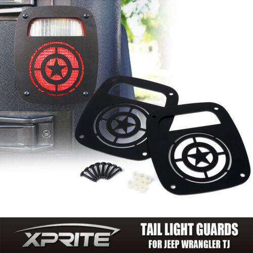 Xprite Black STAR Tail light Guard Cover For 1987-2006 Jeep Wrangler TJ YJ
