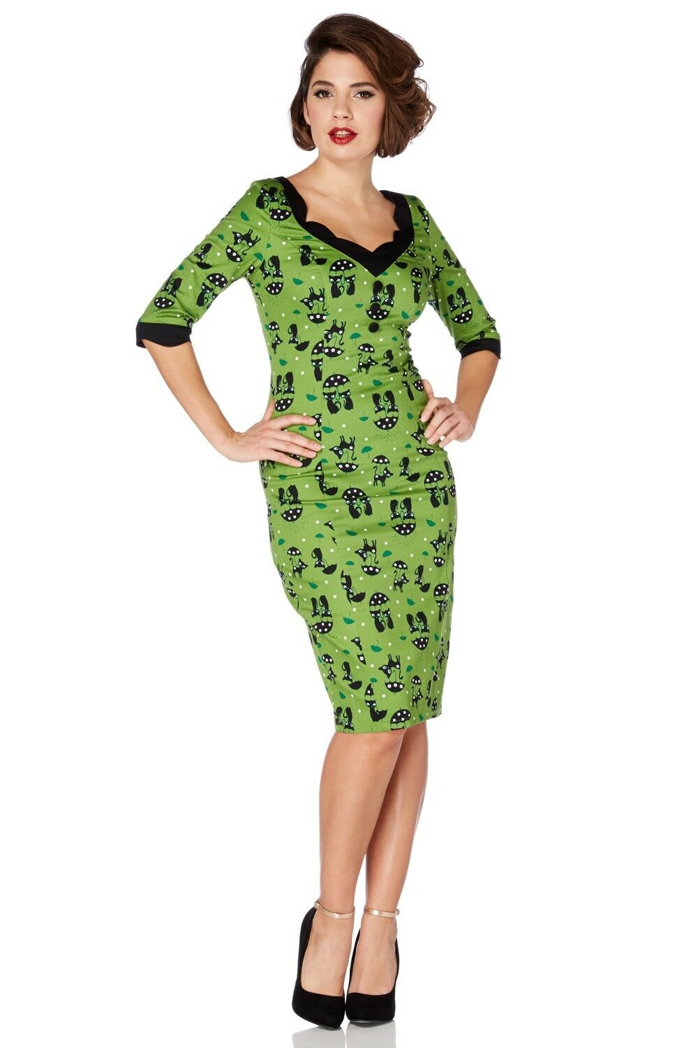 Voodoo Vixen Jade Kat Green Cat in the Rain Wiggle Dress