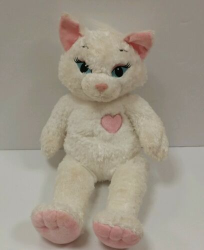 "BuildABear Workshop Sassy white Kitty cat 18"" Pink Heart Plush Stuffed Animal"