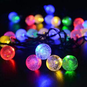 LED Solar String Ball Lights Outdoor Waterproof Warm White Garden Decor Xmas