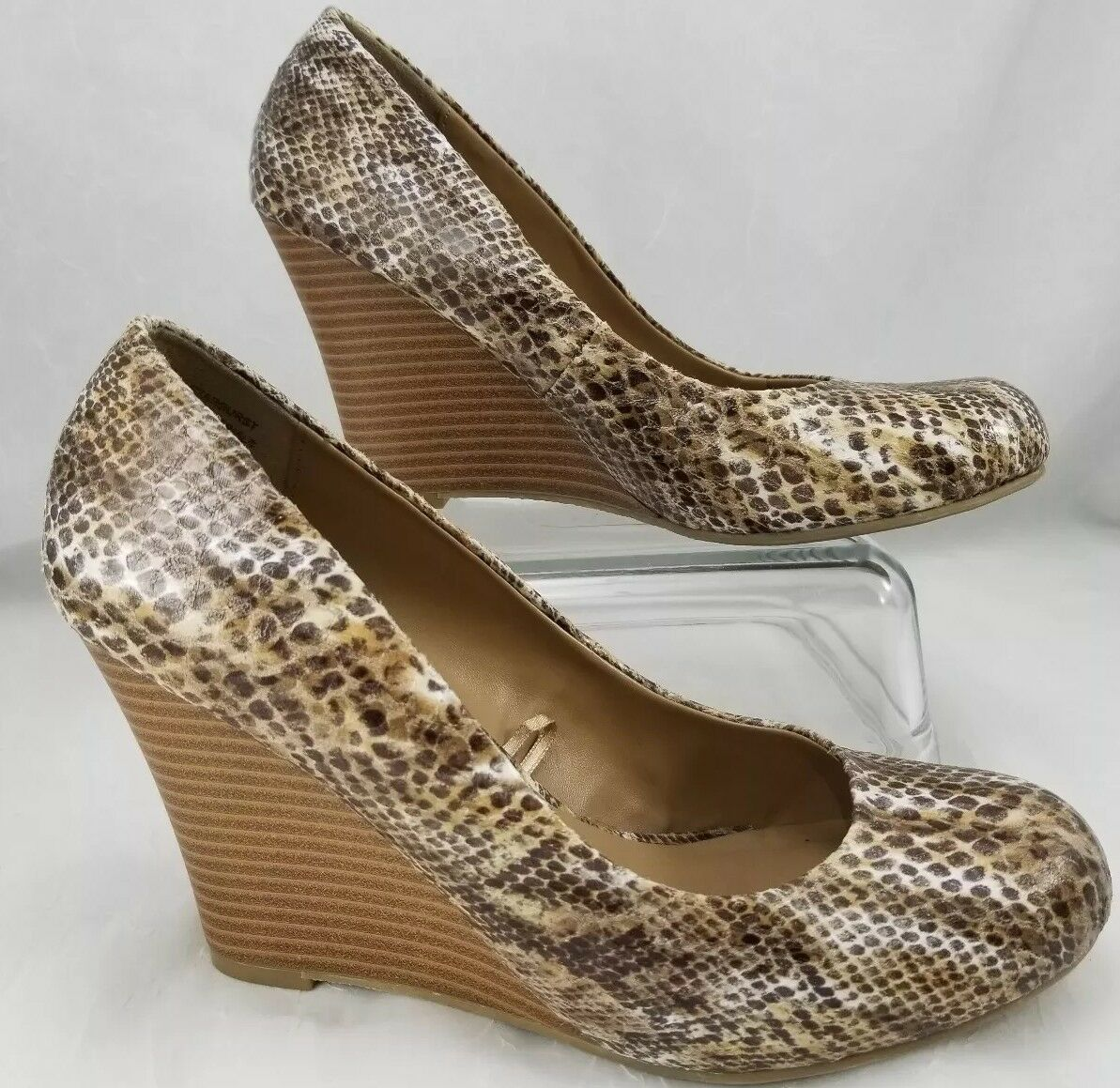 Women's Report Snakeskin Starburst Brown 8.5 Faux Snakeskin Report Wedge Heels 5d9012