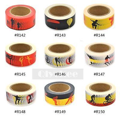 Sports Pattern Washi Tape Craft Scrapbooking Sticky Adhesive DIY Decor 20mm