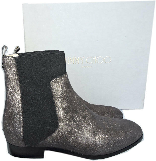 950 Jimmy Choo Chelsea Anthracite Metallic Shimmer Suede Ankle Bootie 38.5 Boot