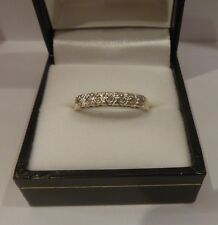 DIAMOND 7 stone half ETERNITY ring 9ct yellow gold white gold top ANNIVERSARY