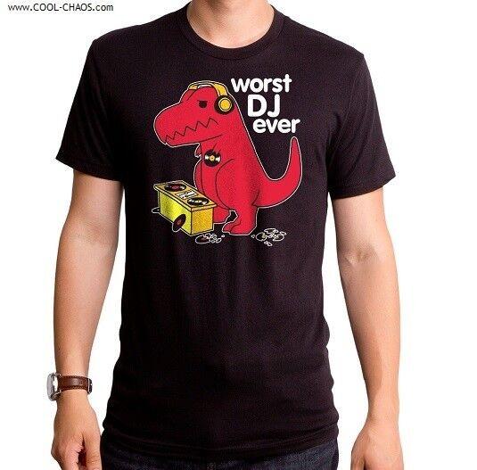 DJ T-Rex T-Shirt   LOL Dinosaur Headphones   Worst DJ Ever, Hilarious Men's Tee