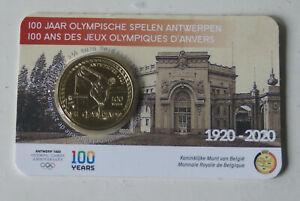 COINCARD-2-EURO-COMMEMO-BELGIQUE-2020-100-ANS-JEUX-OLYIMPIQUE-ANVERS