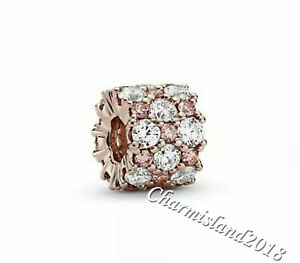 Authentic-Pandora-Charm-788487C01-Rose-Gold-Pink-amp-Clear-Sparkle-Bead