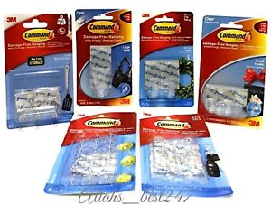 3M COMMAND Clear Hooks With Clear Strips Decorating Clips Damage ...