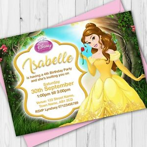 Image Is Loading Personalised Disney Princess Birthday Party Invitations Invites