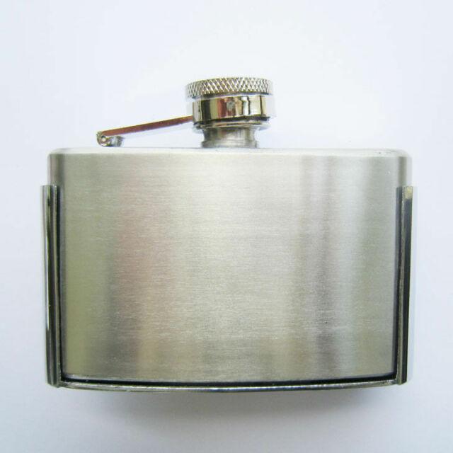 3oz Secret BELT BUCKLE FLASK Stainless Steel Screw Cap Hip Pocket Carry Liquor