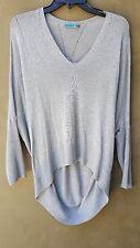 ALICE + OLIVIA Women's Gray Oversized Sheer Dolman Sleeve Cashmere Sweater Sz L