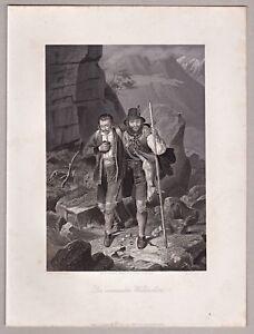 Jaeger-Jagd-Wildschuetz-i-d-Alpen-Stich-Stahlstich-bei-A-H-Payne-um-1845