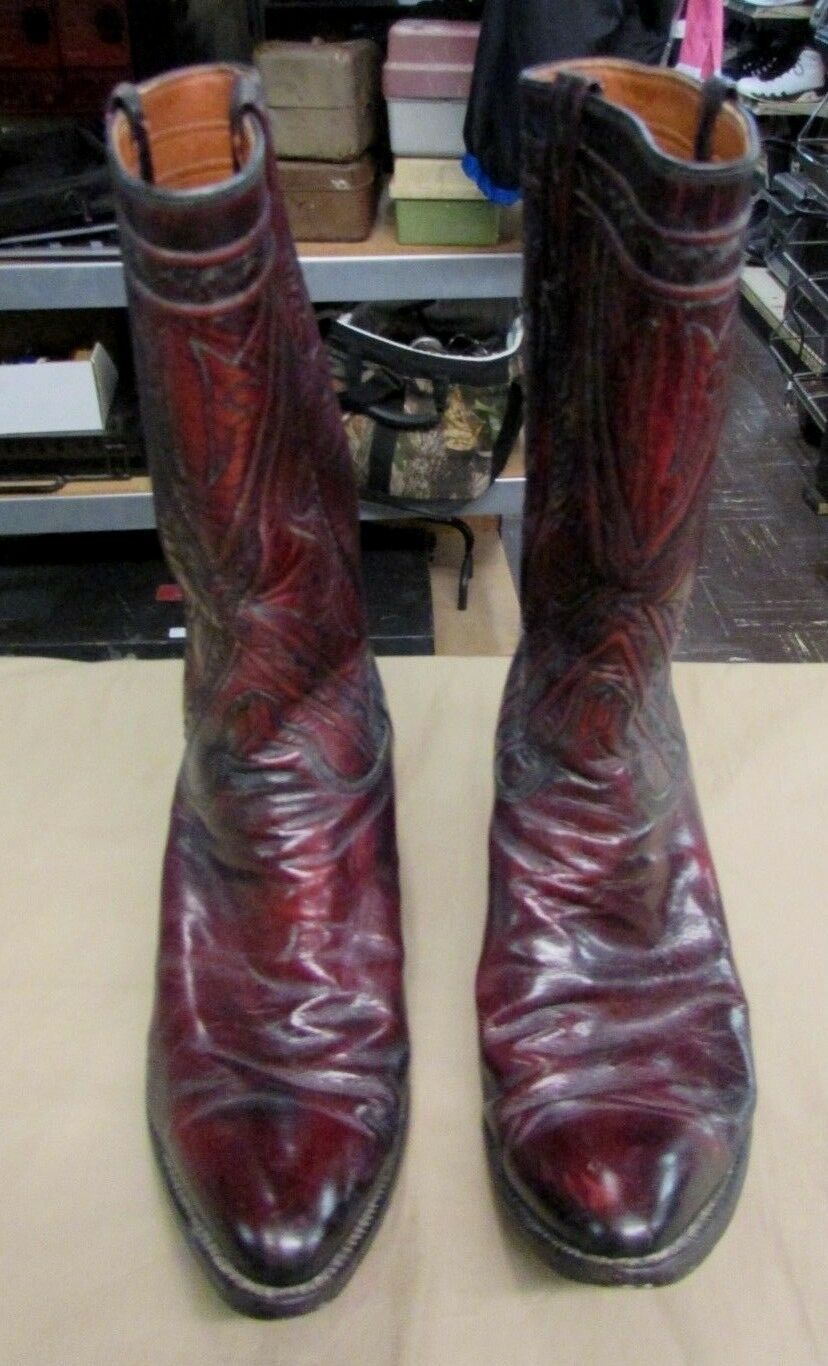 Vintage Homme Lucchese 7106 Cowboy Western Bottes Chaussures Taille 9.5 D noir CHERRY