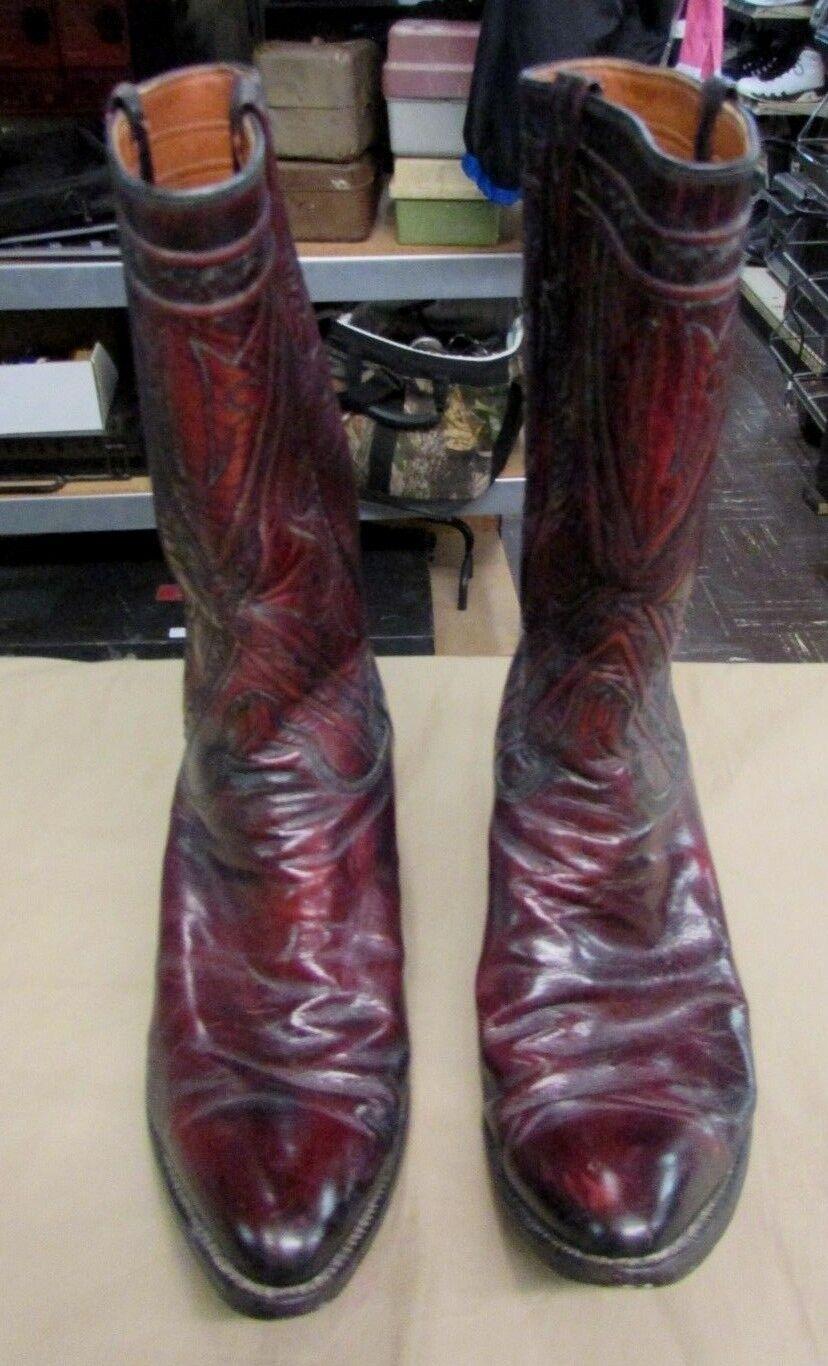 Vintage Hombres Zapatos botas de vaquero occidental Lucchese 7106 tamaño 9.5 D cereza negra