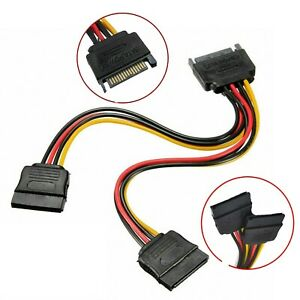 SATA Power 15 Pins Y-Splitter Cable Adapter Male To Female For HDD Hard Drive