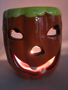 Ceramic Pumpkin Jack-O-Lantern Tea Light Votive Holder Fall Halloween Decoration