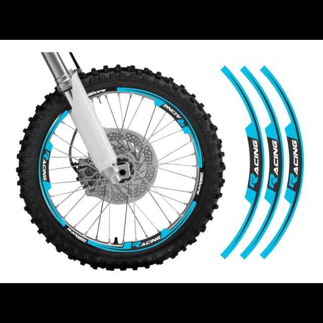 adesivi moto grafiche per cerchi in Crystal Blackbird cross enduro azzurro tm