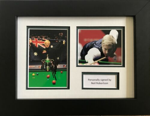 NEIL ROBERTSON HAND SIGNED FRAMED PHOTO DISPLAY SNOOKER PROOF.