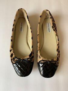 b9c55d98d2e Details about Steve Madden Womens 8.5 Tipie Calf Hair Flats Black Patent  Tow Bow Leopard Print