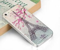 Pink Flower Paris Eiffel Tower Soft Case Skin Back Cover For Apple Iphone 5