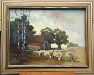 Schaefer-mit-Schafherde-Olgemaelde-Signiert-Impressionismus