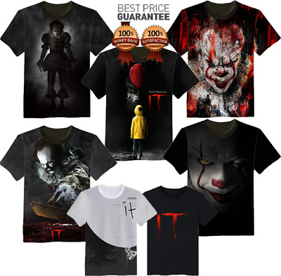 Full Print 3D T-Shirt Stephen King It Movie 2017 Pennywise Horror Clown S 7XL