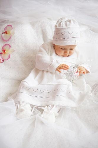 TAUFKLEID*Mädchen Häkelkleid STRICK Set Mütze*NEU 56 62 68 74 80 86 Babykleid*10