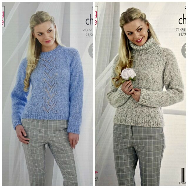 KNITTING PATTERN Ladies Lacy and Polo Neck Jumpers Chunky King Cole 5282 2e83bbd04