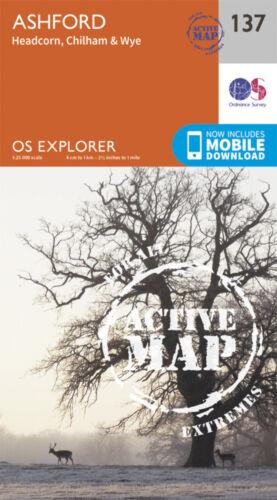 Ashford Explorer LAMINATED ACTIVE Map 137 Ordnance Survey