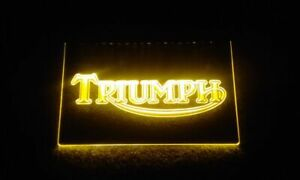 Yellow Triumph Motorcycles & Sports Cars Sign Light Advertisement Neon Man Cave