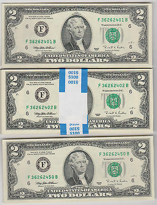 50 New Two Dollar Bills 1//2 BEP Pack $2 Notes $100 FV Crisp Uncirculated