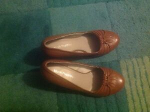 HUSH-PUPPIES-LADIES-UK-5-EU-38-US-7-BROWN-LEATHER-HEELED-SHOES-3-INCH-HEEL-NEW