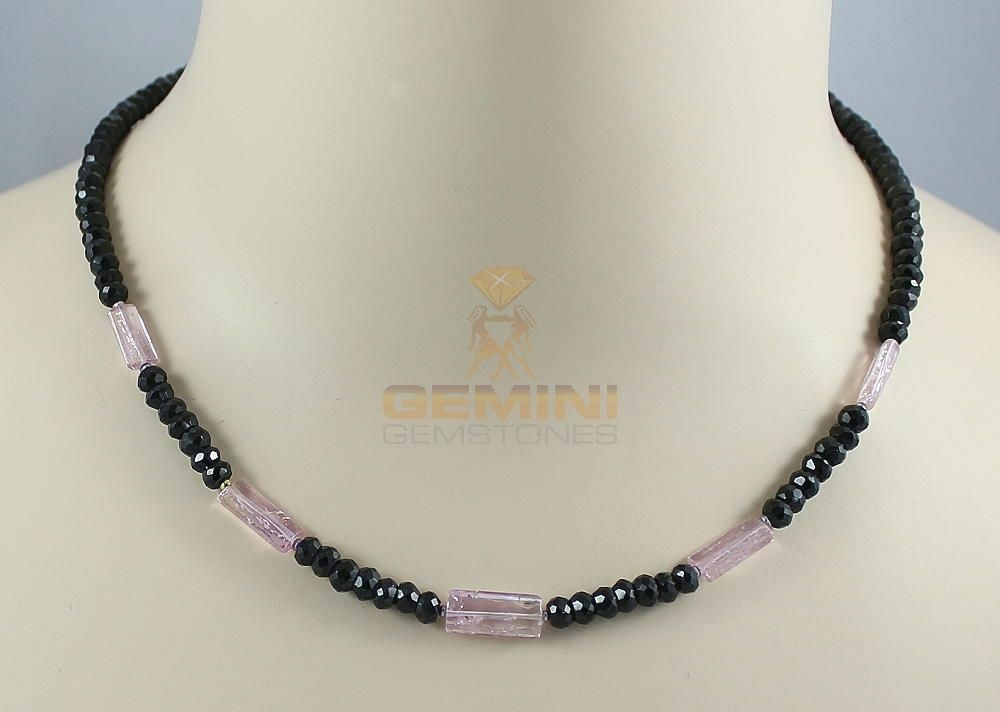 Spinell-Kette black mit pink Imperial-Topas Kristallen Halskette 47 cm lang