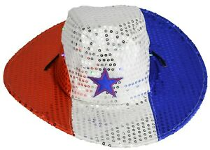 f987d593 Flashing Patriotic Cowboy Hat with LED Lights for 4th of July Party ...