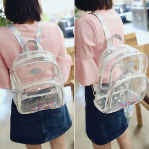 Image Is Loading Women Clear See Through Tote Transpa Backpack Bag