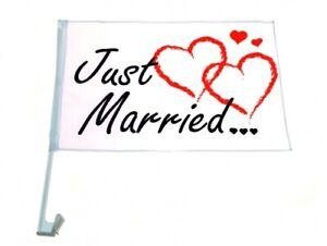 "48x Autofahne /""Just Married/"" Auto Fahne Flagge Liebe Hochzeit Justmarried Love"