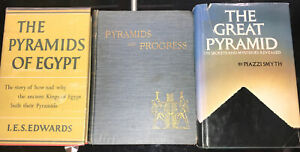 Set of  3 amazing Pyramid Ancient Egypt Antiquarian books rare collectable