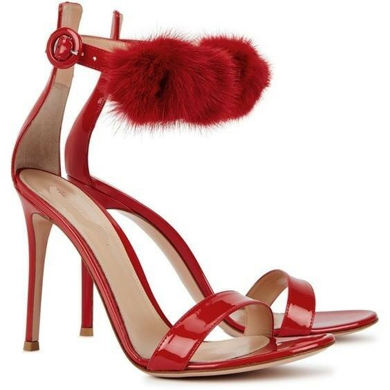 WOmen's Fluffy fur Ankle Ankle fur Strap high Heels Stiletto Open toe Sandals Party Shoes 13e184